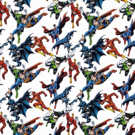 Tissu Popeline Bio Justice League 2 DC COMICS - Blanc