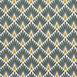 Tissu coton cretonne Écailles dorées - Kaki