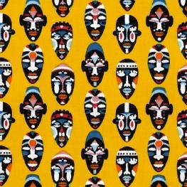 Tissu Coton Cretonne Masques Africains - Jaune