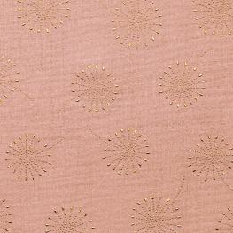 Tissu coton double gaze Pissenlits - Rose & Doré