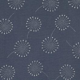 Tissu coton double gaze Pissenlits - Bleu & Argenté