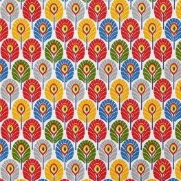 Tissu coton plume de paon - Multicolore