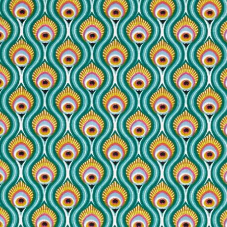 Tissu Coton Cretonne Oeil de Paon - Bleu turquoise
