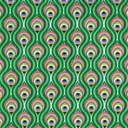 Tissu Coton Cretonne Oeil de Paon - Vert