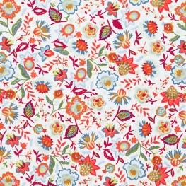 Tissu Popeline Prairie Fleurie - Blanc & Orange