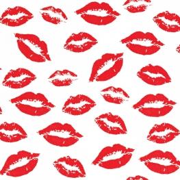 Tissu Popeline Lèvre - Blanc & Rouge