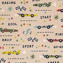 Tissu Popeline Coton Racing Vintage - Beige