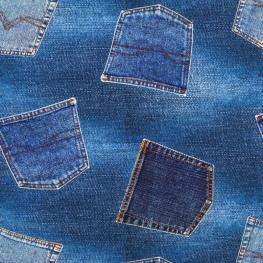 Tissu Jersey Jean - Bleu