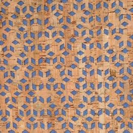 Tissu en liège et denim - Naturel & Bleu