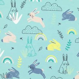 Tissu Jersey Lapins - Bleu Lagon