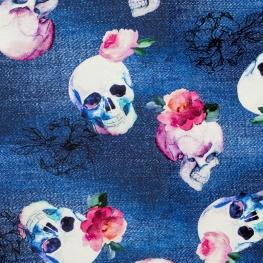 Tissu Jersey Jean Tête de Mort - Bleu
