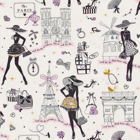 Tissu Coton Enduit Moi Paris - Ecru, Rose & Doré