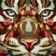 Carré Jacquard Tigre - Kaki