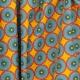 Tissu Coton Cretonne Imitation Wax - Jaune & Bleu