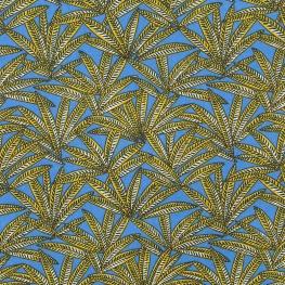 Tissu Coton Cretonne Palmier Janaina - Cobalt