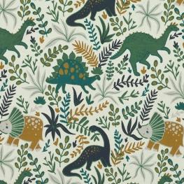 Tissu Jersey Petits Dinos - Vert d'eau