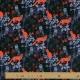 Tissu Jersey Animaux de la nuit - Noir et Orange