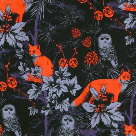 Tissu Jersey Renards Éclatants - Noir & Orange