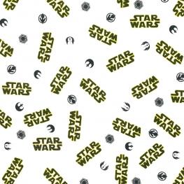 Tissu Popeline Bio Logo Star Wars - Blanc