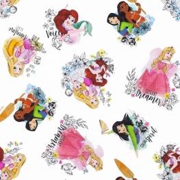 Tissu Popeline Bio Princesses DISNEY - Blanc