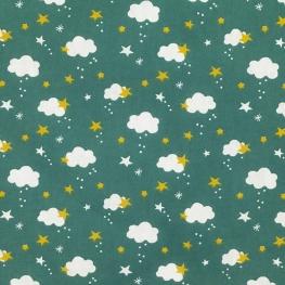 Tissu Coton Cretonne Nuage & Étoile - Vert