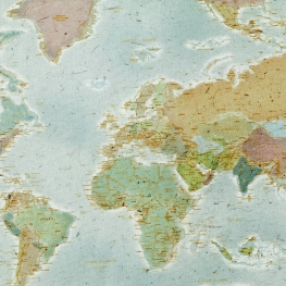 Tissu Coton Cretonne Carte du Monde - Bleu