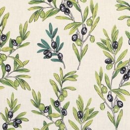 Tissu Coton Cretonne Olive - Blanc Cassé