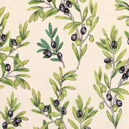 Tissu Coton Enduit Olive - Blanc Cassé