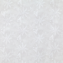 Tissu Broderie Anglaise Floral - Blanc
