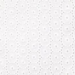 Tissu Broderie Anglaise Rond Festonné - Blanc