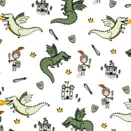 Tissu Popeline Chevalier contre Dragons - Blanc