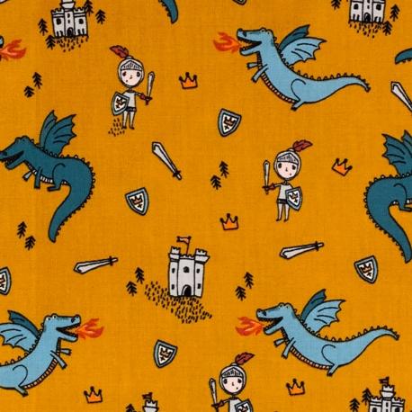 Tissu Popeline Chevalier contre Dragons - Ocre