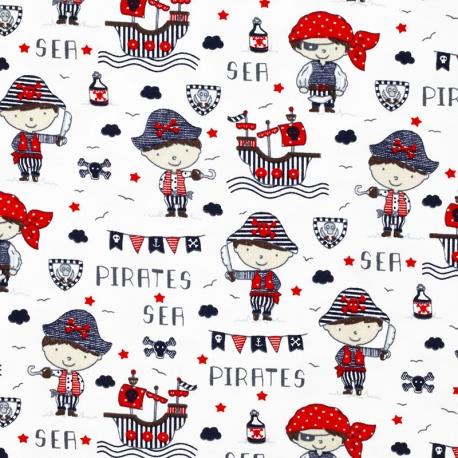 Tissu Jersey Pirates - Blanc