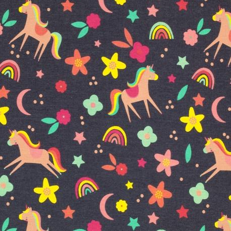 Tissu Jersey Licornes Arc en ciel - Gris chiné