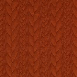 Tissu Jersey Torsades - Orange brique