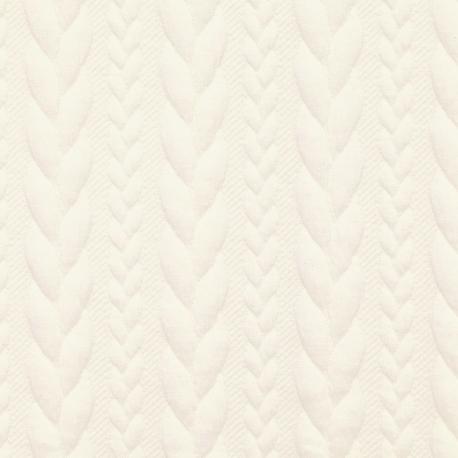 Tissu Jersey Torsades - Blanc cassé