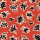 Tissu Viscose Fleurs Calligraphie - Rouge brique