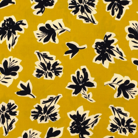Tissu Viscose Fleurs Calligraphie - Ocre