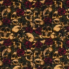 Tissu Popeline Roses & Têtes de Mort  - Multicolore