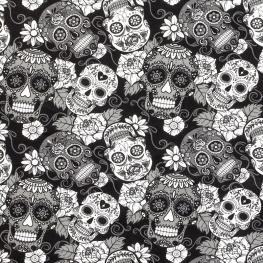 Tissu Jersey Jour des Morts - Noir & Blanc