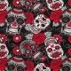 Tissu Jersey Têtes de Mort Mexicaines - Noir & Rouge