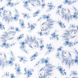 Tissu Popeline Spirit DREAMWORKS - Blanc & Bleu