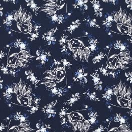 Tissu Popeline Spirit DREAMWORKS - Bleu marine & Blanc