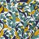 Tissu lin feuillage - Bleu, Vert & Jaune