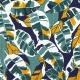Tissu Lin Feuilles Tropicales - Bleu, Vert & Jaune