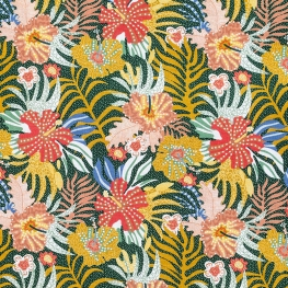 Tissu Popeline Bio Hibiscus Sauvages - Multicolore
