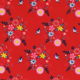 Tissu Popeline Oiseaux & Fleurs - Rouge