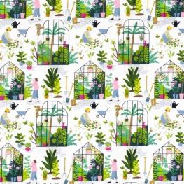 Tissu Popeline Bio Jardin & Serre - Blanc