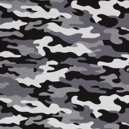 Tissu Popeline Camouflage - Gris & Noir