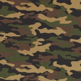 Tissu Popeline Camouflage - Vert kaki